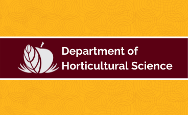 "maroon and gold flag that says ""department of horticulture science"" with an apple with a leaf"
